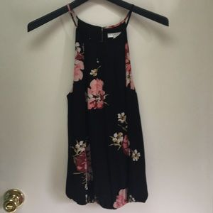 NWOT Joie Black Floral Sleeveless Top, Small